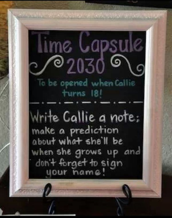 Baby Shower Idea: Time Capsule for Baby to read when he/she turns 18! #babyshowerShowers, Time Capsule, Baby Shower Ideas, Birthday Parties, Cute Ideas, First Birthdays, 1St Birthdays, Birthday Ideas, Baby Shower