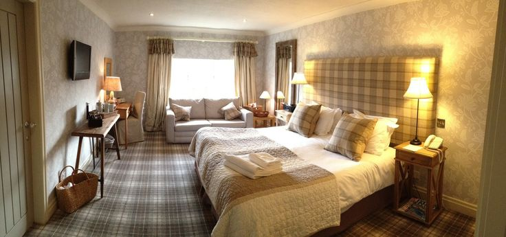 We have redesigned a bedroom at The Pheasant Hotel in Harome - Doesn't it look great? Love the new oak furniture, GP & J Baker Larkhill wallpaper & Abraham Moon tartan headboard with matching scatter cushions.  The Pheasant is arguably one of the most beautiful country hotels in North Yorkshire - Perfect for a weekend retreat! For more information or to book call 01439 771241