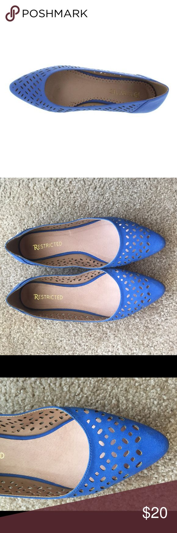 Blue flats Super cute blue flats with design cutouts. Lightly worn but in good condition. Restricted Shoes Flats & Loafers