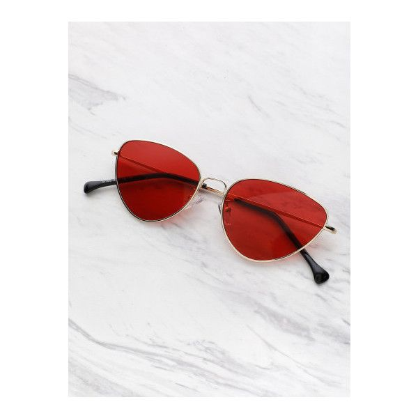 SheIn(sheinside) Oval Shaped Flat Lens Sunglasses ($9) ❤ liked on Polyvore featuring accessories, eyewear, sunglasses, red, retro glasses, red glasses, retro style sunglasses, flat lens sunglasses and red sunglasses
