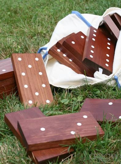Outdoor dominoes tutorial- fun for Summer parties! from www.1dogwoof.com