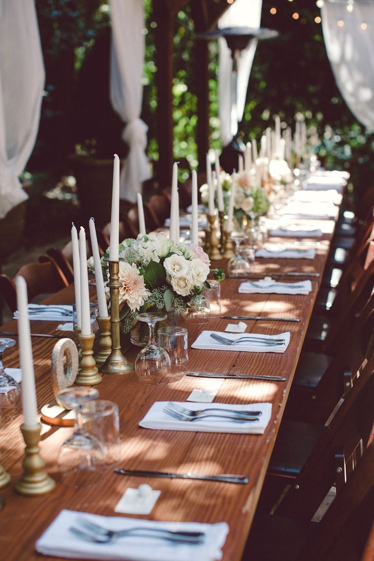 Restaurant table setting ideas - A Chic Woodland Wedding With Understated Glamour