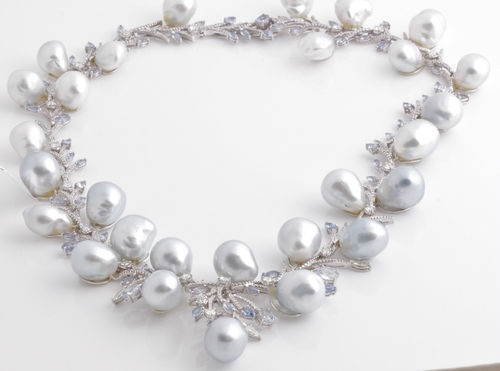 18K White Gold Blue Sapphire Diamond and South Sea Baroque Pearl Necklace