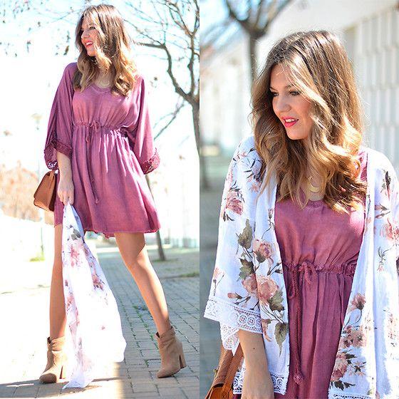 Tendencco Kimono, Tendencco Dress, Primark Handbag, Stradivarius Booties