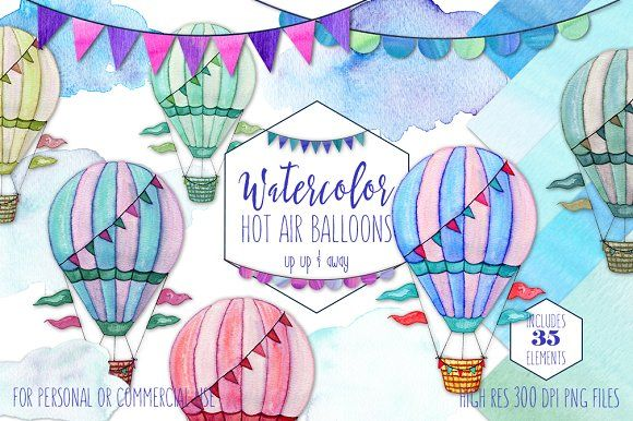 Watercolor Hot Air Balloon Graphics By Clipart Brat Graphics On