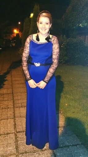 I made both the dress and this lovely young lady. This is my daughter wearing a debs dress I made in a scuba jersey fabric with lace details. #debs #dress #fashion #lace