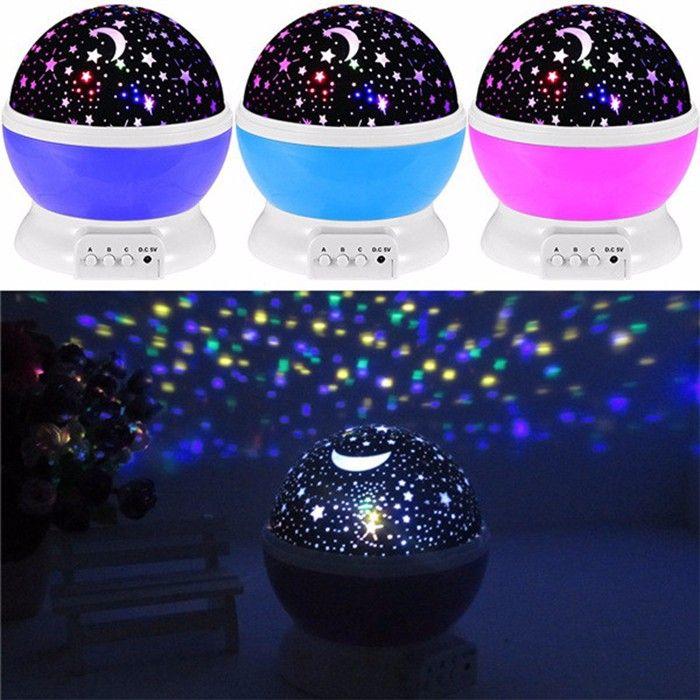 Amazing Room Novelty Night Light Projector Lamp Rotary Flashing Starry SKY Star Moon D USB Battery