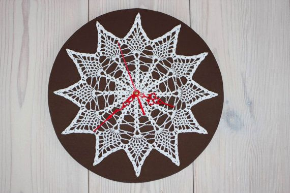 Crochet Wall Clock - Lacy Wall Clock - Handmade Wall Clock - Round Clock - Brown and White Doily Wall Clock