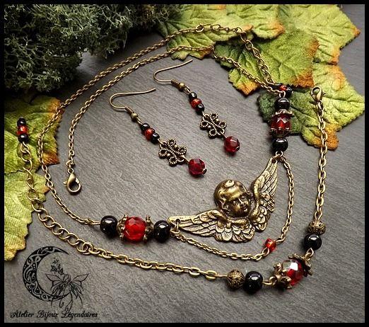 ღ Parure romantique femme, grand ange en laiton bronze, perles de verre et cristal °Amour angélique° : Parure par atelier-bijoux-legendaires