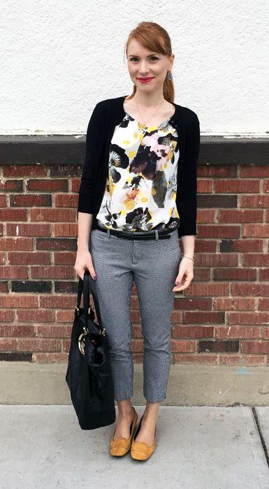 Top, RACHEL Rachel Roy (via consignment); pants, BR; cardigan, J. Crew Factory; shoes, Tod's; bag, Gucci (via consignment)