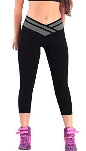 4How® Femme Pantacourt collant Capri YOGA Jogging, Noir&Gris, Taille L: Tweet Pour faciliter votre choix en taille, nous avons fait la mise…