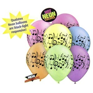 Music Notes Latex Balloons (Hot Neon Colours)