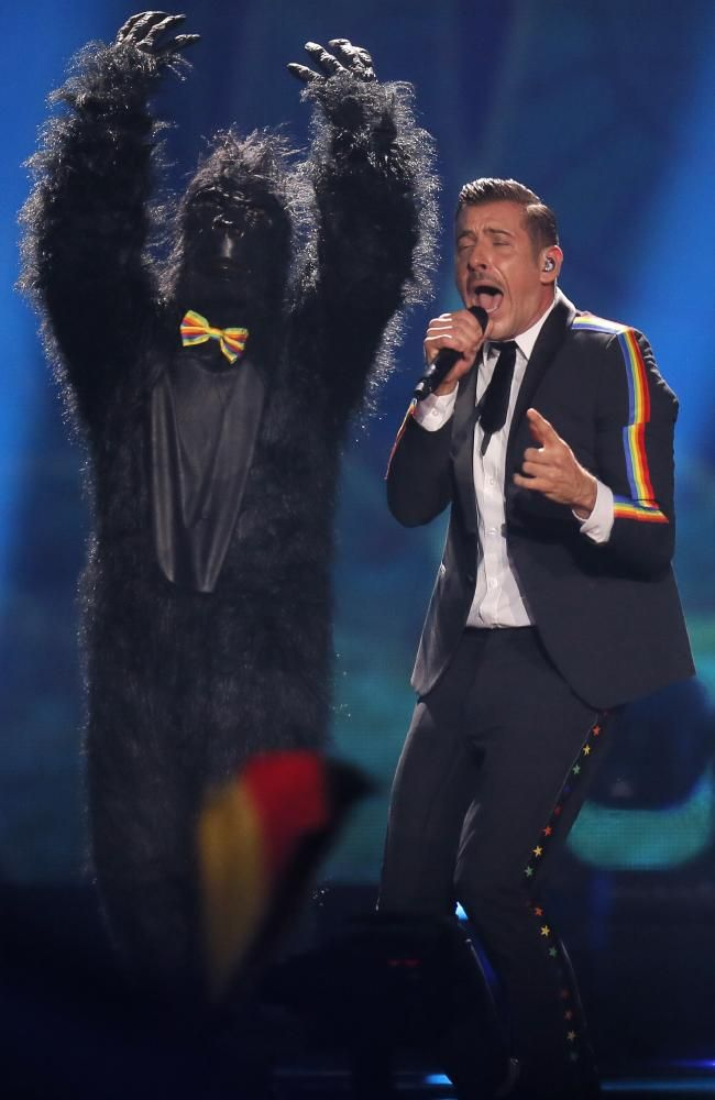 Eurovision 2017 Favourite Francesco Gabbani from Italy, right, performs  Occidentali's Karma> with that dancing gorilla. Picture: AP/Efrem Lukatsky
