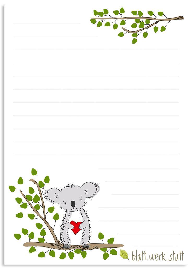 briefpapier koala briefbogen a4  briefpapier briefpapier