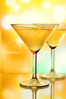 Flirtini from Sex and the City.  Ingredients:  1 oz. Vodka  2 oz. Champagne  2 oz. Pineapple Juice    Directions:  Combine Vodka, Champagne, and Pineapple Juice and serve in a Martini glass.