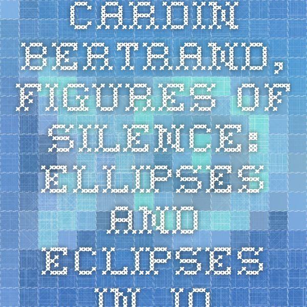 Cardin Bertrand, Figures of silence: ellipses and eclipses in John McGahern's collected stories | ISIDORE - Accès aux données et services numériques de SHS