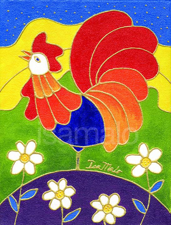 Le lever du coq par Isabelle Malo • Acrylique sur toile • Folk art  • www.isamalo.com • Artiste peintre du Québec •Art naïf