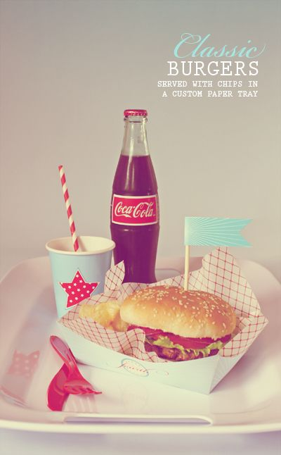 cute: Coca Cola, Birthday, American Food, Vintage, Party Idea, Burgers, Fast Food, Classic