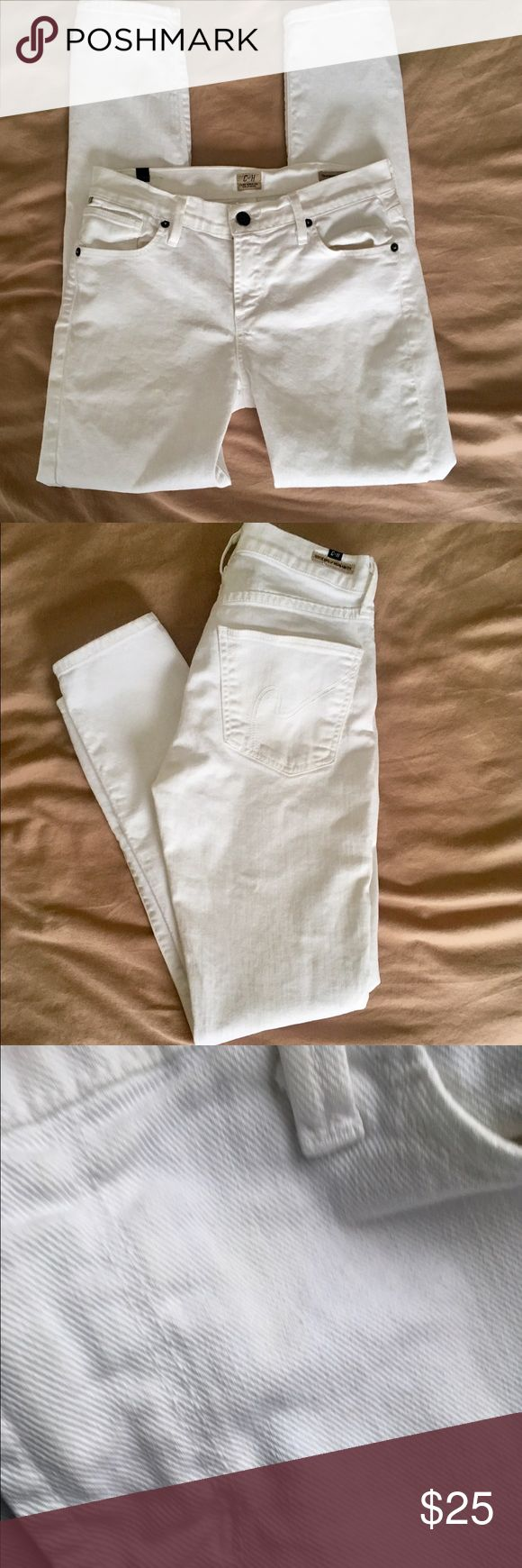 Citizens of Humanity Thompson Cropped Skinnies These Citizens of Humanity white jeans are the Thompson medium rise cropped skinny style.  Size 26. Measures 13.25 inches across waistband and has a 27.5 inch inseam.  Very faint discoloration in front by fly and on back left pocket as pictured. Only noticeable when very, very closely inspected (during my microscopic examination for sale). Pictures included. Cuffs and knees white with no stains or scuffs.  10% Bundle discount in my closet💕…