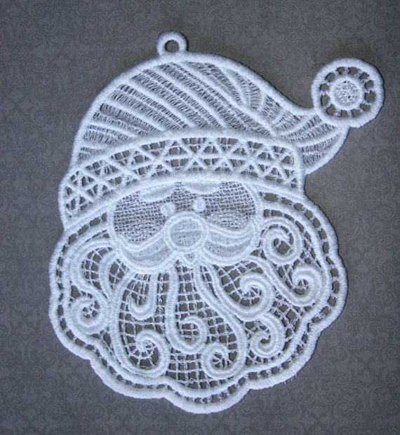Santa Free Standing Lace Embroidered (stitched out) by ThreadingLightlyCO on Etsy, Machine embroidery design by Anita Goodesign.
