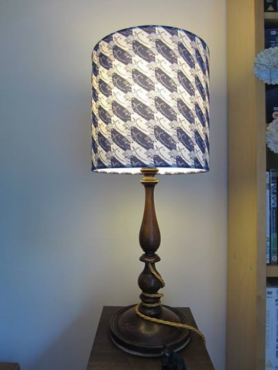 blue & white chequered bird lampshade