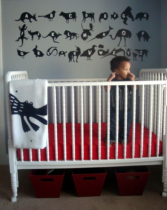 Grey and red: Toddlers Rooms, Animal Alphabet, Boys Rooms, Grey Wall, Black White, Beds Storage, Baby Rooms, Kids Rooms, Jenny Lind Cribs