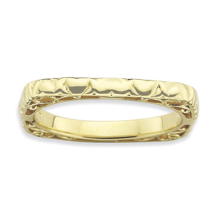 Sterling Silver Stackable Expressions Polished Gold-plate Square Ring QSK762