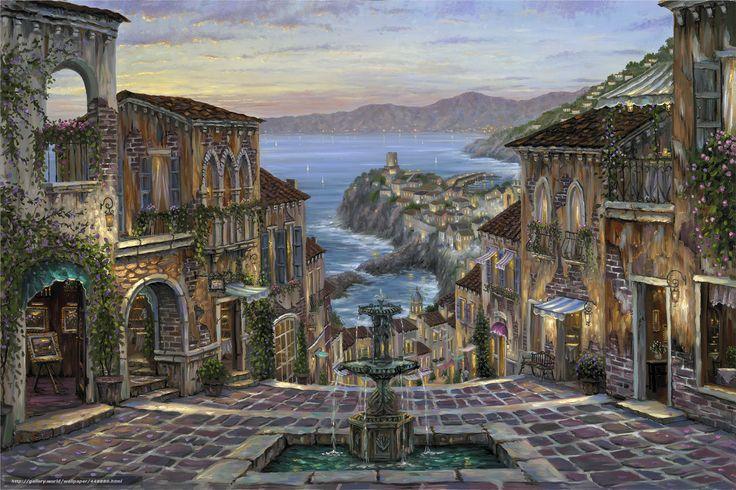 Descargar gratis pintura,  Italia,  Vernazza,  Italian Riviera Fondos de escritorio en la resolucin 2400x1601 — imagen №448880