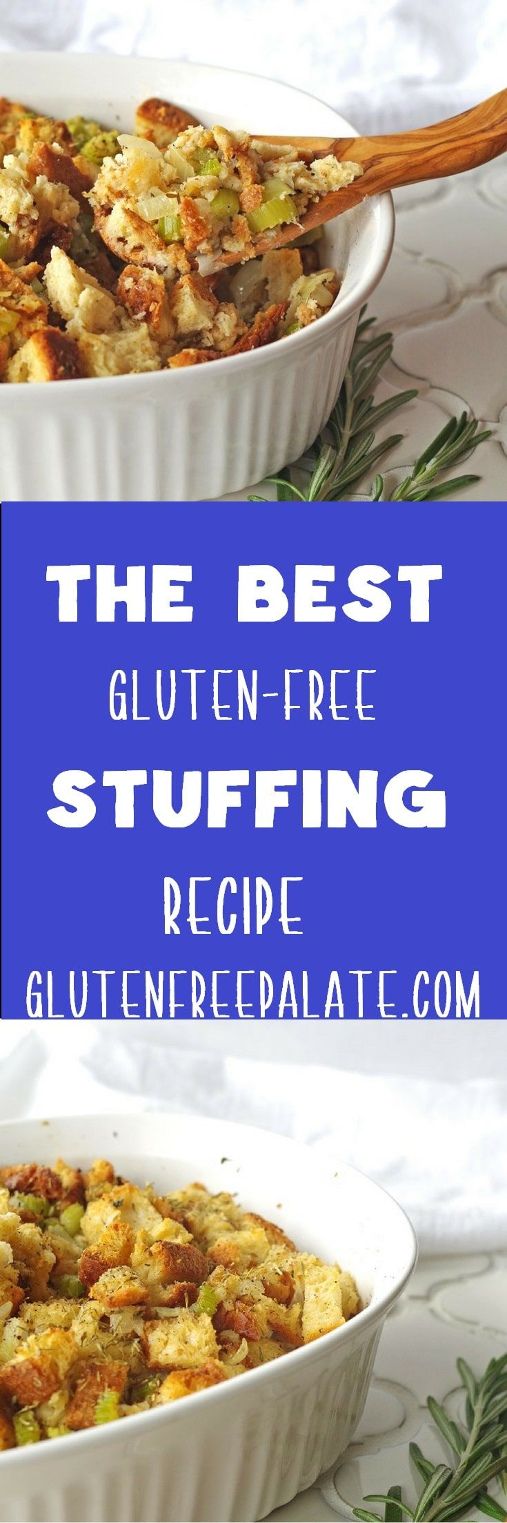 Gluten-Free stuffing (dairy-free option) that is bursting with flavor, simple to make, uses only ten ingredients, and is perfect for baking or stuffing a Turkey. via @gfpalate