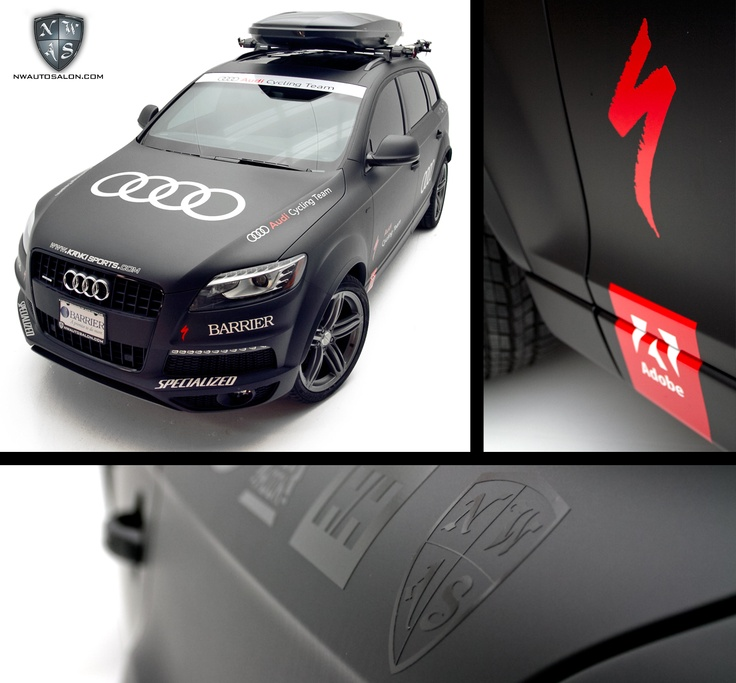 Audi Cycling Team satin wrapped Q7 TDI, complete with reflective branding & graphics.