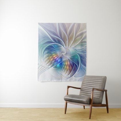Floral Fantasy Colorful Abstract Fractal Flower Tapestry - floral style flower flowers stylish diy personalize