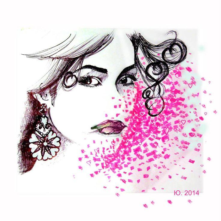 Ritratto 30x30 cm disegno digitale #amore interpretazione del volto della fashion blogger Martina Corradetti per Auronia contest di #paratissima10 ------ Portrait 30x30 cm digita art #love for Auronia contest of #paratissima