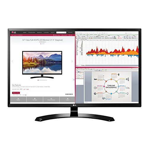 "2018 LG Professional 32-Inch Full HD 1920 x 1080 IPS Monitor with HDMI, Display Port, D-Sub, On-Screen Control, Screen Split 2.0, Reader Mode, VESA Wall-Mount, Black - Screen: 31.5"" Full HD 1920 x 1080 IPS Display Color Gamut (CIE 1931) 68% Color Depth (Number of Colors) 16.7M colors Pixel Pitch (mm) 0.36375 x 0.36375 Response Time 5ms Refresh Rate 60Hz Aspect Ratio 16:9 Brightness 250 cd/m2 Contrast Ratio Mega Viewing Angle 178 / 178 Surface Treatment Semi-Gla..."