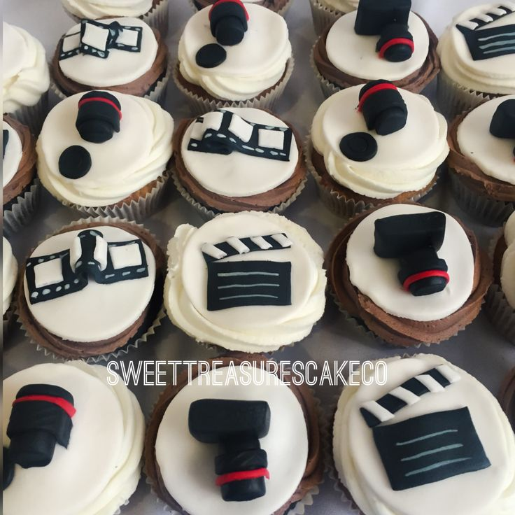#camera #video #photos themed #cupcakes. #carrotcupcakes with #buttercream icing and #chocolatecupcakes with #chocolatefudge icing. #sweettreasures #sweettreasurescakeco #joburg #johannesburg #southafrica