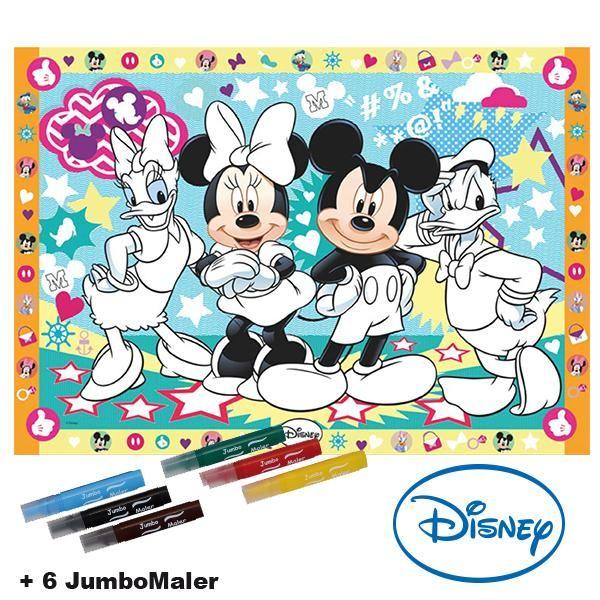#BoMaBi #Mickey Mouse ● Poster 118 x 84 cm zum #ausmalen incl. 6 Jumbomalern ● #Malen, #Spielen, #joyPac®