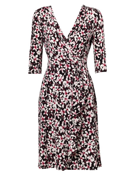 Leona Berry Mix Crisscross Floral Waterfall Wrap Dress from Myer Online