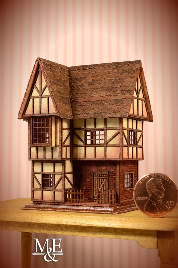 Miniature Tudor Dollhouse made in Cherry Wood, laser cut, armed, painted and finished by hand, scale 1:144 , It may be furnished and includes doors