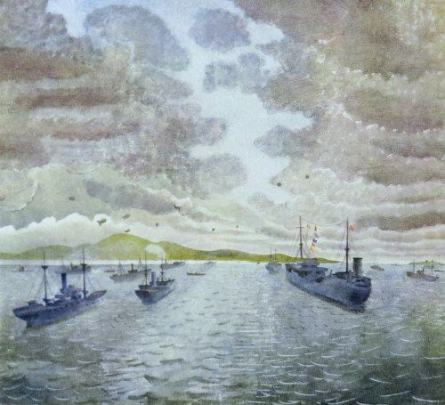 Eric Ravilious: 'Convoy From Merchant Ship at Anchor', 1943