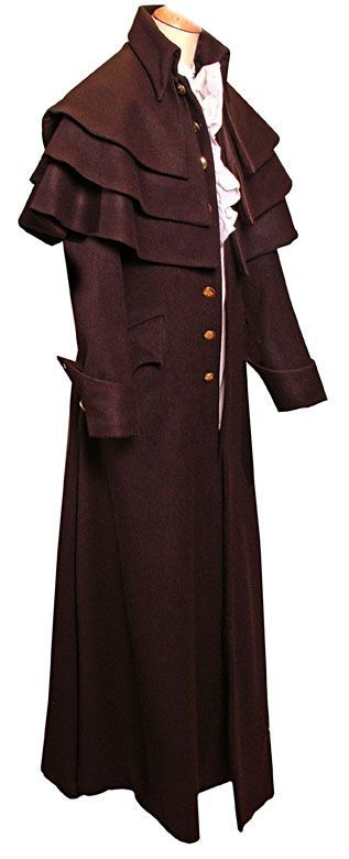 18th Century Triple Cape Coat  This is the standard version of the 'Triple cape Coat' made in a good quality brown overcoating wool, the coat features Gauntlet style button through cuffs and Brass buttons are used throughout, fully lined in a polished cotton. The rear of the coat has a beautiful long pocket feature with 14 buttons fitted to the rear!  Copied from an original that was restored for a Museum client. CT9002
