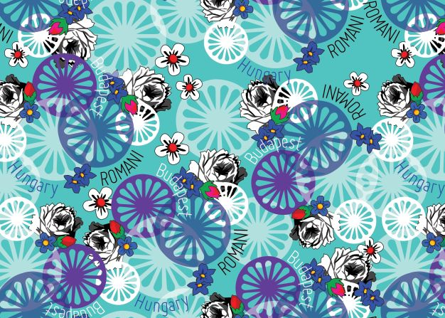 Romani Design spring - summer 2017 Wanderers of The Words turquoise pattern  gypsy roma style rose fashion textile rose inspiration hungary budapest