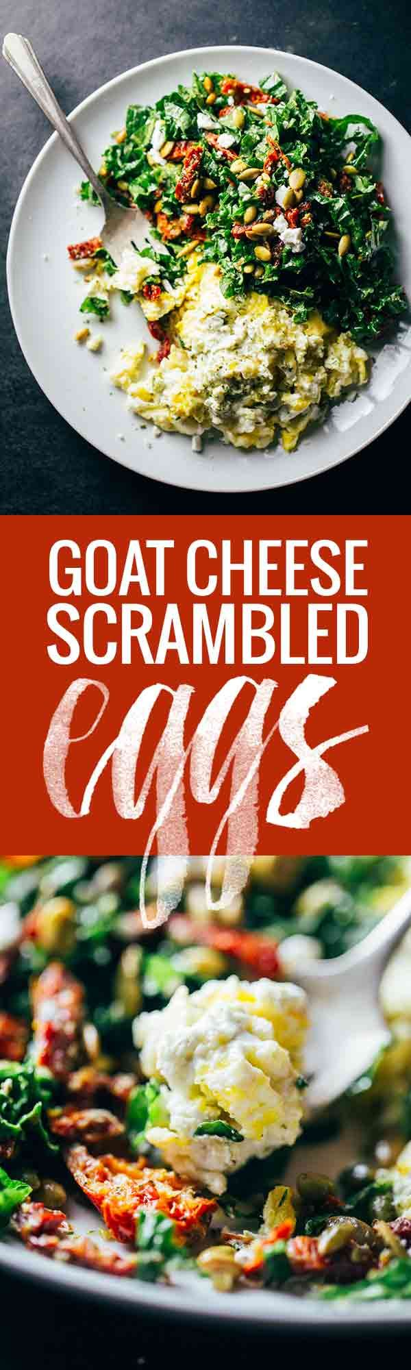 Goat Cheese Scrambled Eggs with Pesto Veggies - simple, easy, fast, healthy. 400 calories