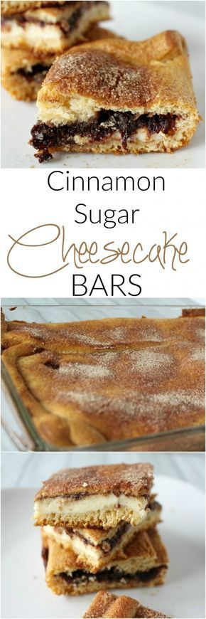Cinnamon Sugar Cheesecake Bars - made with crescent rolls and super easy to make