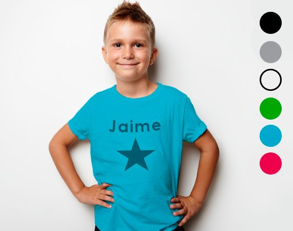 Camiseta infantil de algodón personalizada. Diseña una camiseta única con tu foto, nombre o diseño favorito.