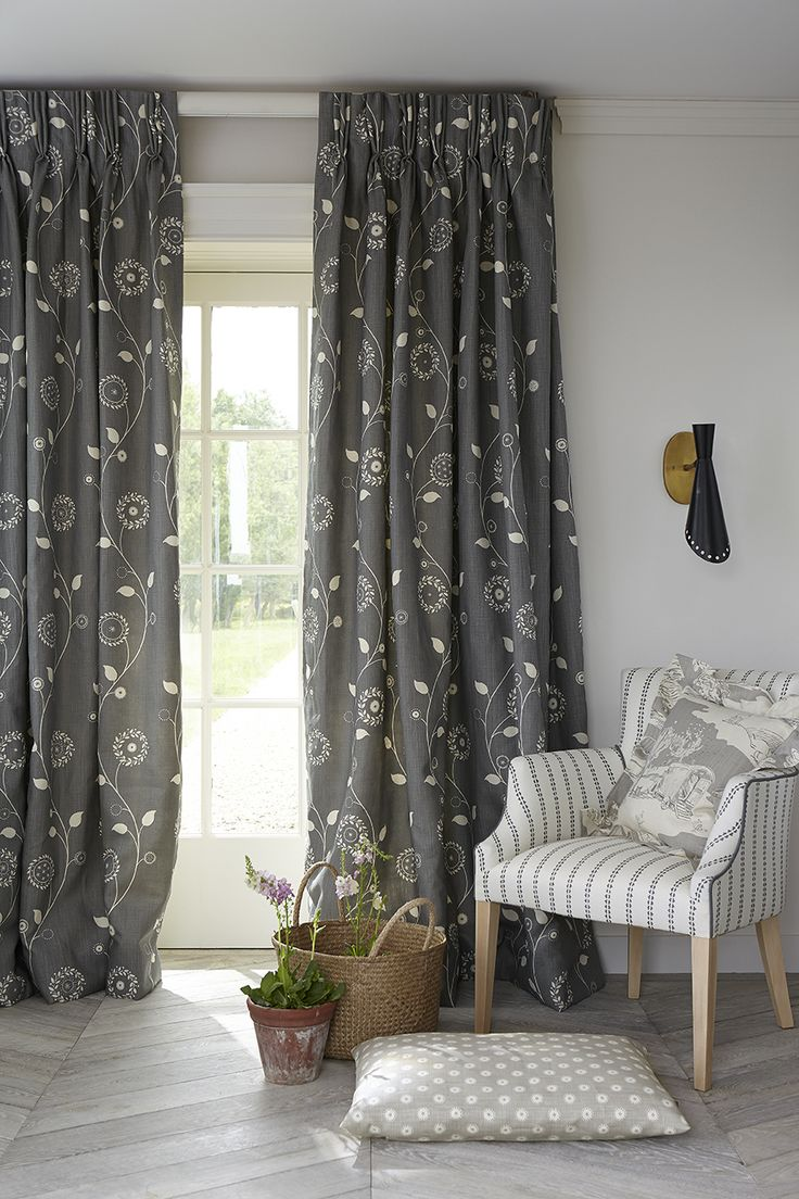 grey floral curtains