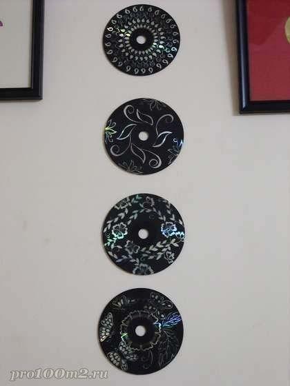 Украшение стен из СД-дисков
