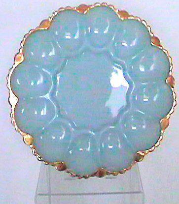 carnival glass deviled egg plate