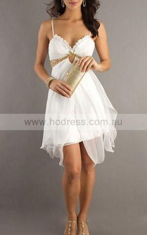 Sheath Spaghetti Straps Knee-length Chiffon Natural Formal Dresses gt2528--Hodress