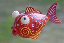 Paper Mache Vis, gebruik een tempex ei als basis vorm