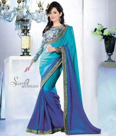 Buy Sunita Sareese Plane Less Border Georget Sarees With Blouse Piece Online India - 3474659