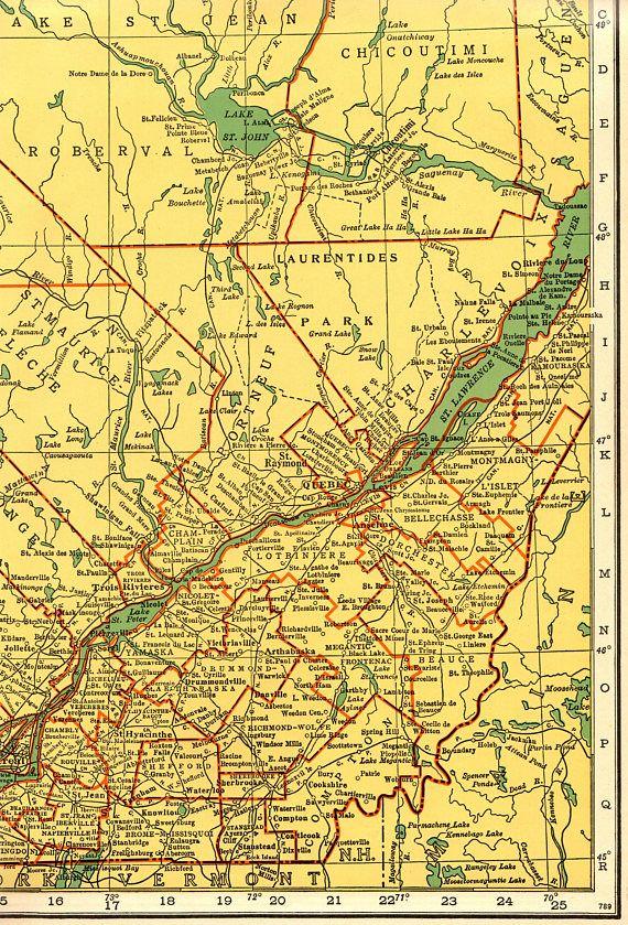 1949 Rare Size Antique Quebec Canada Map Vintage Collectible Map